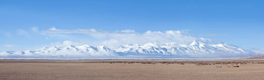 Panorama of Gurla Mandhata mount and herd of kiangs in Tibet, China stock photos
