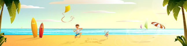 Panorama.Sunny summer beach  summer beach. The guy with the dog running along the beach Royalty Free Stock Images