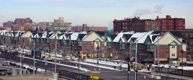Panorama- hög definitionbild av nya hus för Detroit stad Fotografering för Bildbyråer