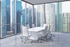 Panorama- hörnkonferensrum i modernt kontor, singaporiansk finansiell områdessikt Vitstolar och en vit tabell vektor illustrationer