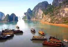 Panorama of Ha Long Bay Stock Images