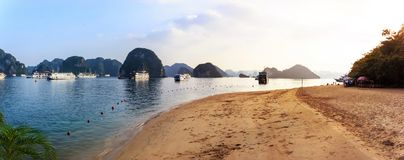 Panorama of Ha Long Bay Beach, tourist boat and seascape, Ha Long, Vietnam.  stock images