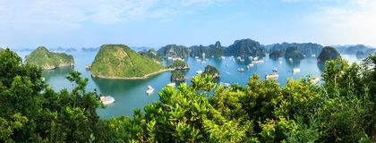 Panorama of Ha Long Bay islands, tourist boat and seascape, Ha Long, Vietnam.  royalty free stock photo