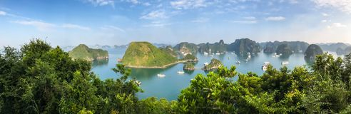 Panorama of Ha Long Bay islands, tourist boat and seascape, Ha Long, Vietnam.  stock photography