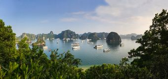 Panorama of Ha Long Bay islands, tourist boat and seascape, Ha Long, Vietnam.  royalty free stock images