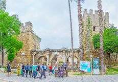 Panorama of Hadrian`s Gate Royalty Free Stock Photography