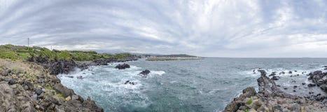 Panorama of Hahyo port in Jeju island. Royalty Free Stock Image
