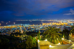 Panorama of Haifa - port and Bahai garden, Israel Royalty Free Stock Image