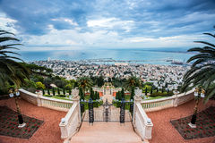 Panorama of Haifa - port and Bahai garden, Israel Stock Image