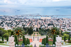 Panorama of Haifa - port and Bahai garden, Israel Royalty Free Stock Photo