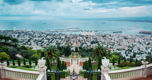 Panorama of Haifa - port and Bahai gardern, Israel stock video
