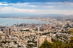 Panorama of Haifa - port and modern buildings, Israel Stock Photos