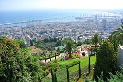 Panorama of Haifa and view of the Bahai Gardens and the Bahai Temple. Israel royalty free stock images