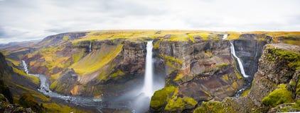 Panorama Haifoss siklawa, Iceland Fotografia Royalty Free