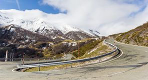 Panorama of a hairpin bend in Picos de Europa. National Park, Spain royalty free stock photography
