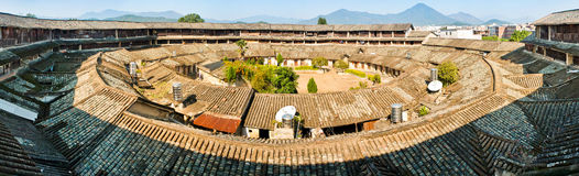 Panorama of  Hakka earth building Stock Photos