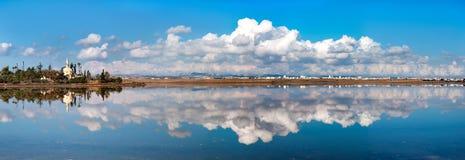 Panorama Hala Sultan Tekke in Cyprus Royalty Free Stock Image