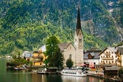 Panorama Hallstatt górska wioska Obrazy Royalty Free