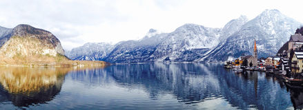 Panorama of Hallstatt lake and snow mountain Stock Photography