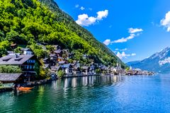 Panorama of Hallstatt village in Austria stock photo