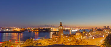 Panorama of the Hamburg harbor Stock Photography