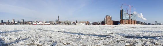 Panorama of Hamburg waterfront in winter Stock Photo