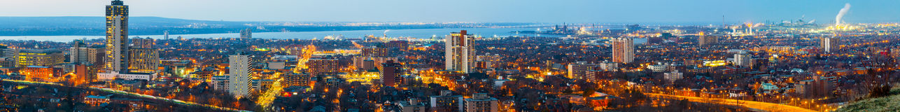 Panorama of Hamilton, Canada, at blue hour Stock Images