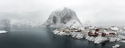 Panorama of  Hamnoy island in winter, Reine, Lofoten Islands, Stock Photo