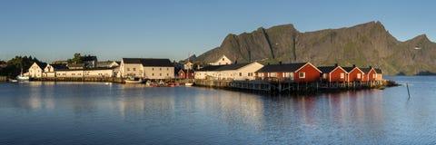 Panorama of Hamnoy town on Lofoten Islands Stock Photography