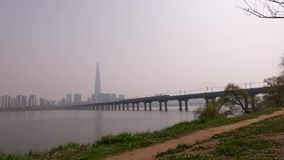 Panorama on Han River, Lotte World Tower, Seoul city panorama