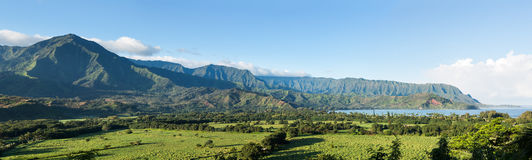 Panorama of Hanalei on island of Kauai Stock Image