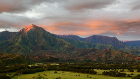 Panorama of Hanalei on island of Kauai Royalty Free Stock Image