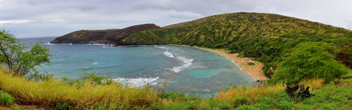 Panorama of Hanauma Bay Nature Preserve Royalty Free Stock Photo