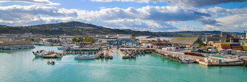 Panorama with harbor of Ancona, boats docked Stock Photography