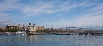 Panorama of harbor of Barcelona Royalty Free Stock Images
