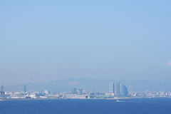Panorama of harbor of Barcelona from the water out of port, Spai Stock Image