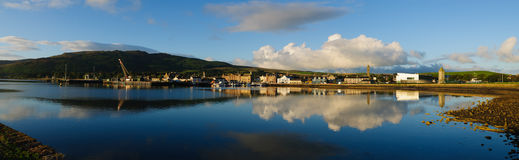 Panorama of harbor in Cambeltown, Scotland. Panoramic view of the Harbor and City of Cambeltown, Argyll and Bute, Kintyre, Scotland Stock Photos