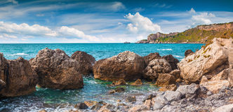Panorama of harbor and cape Milazzo coast Stock Images