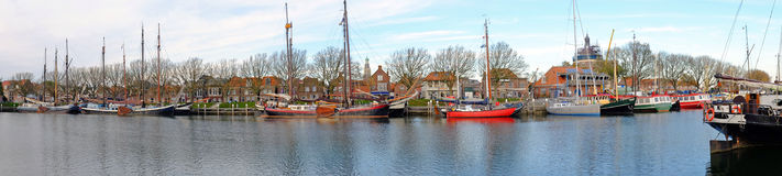 Panorama from the harbor from Enkhuizen in  Netherlands Stock Photos