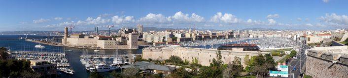 Panorama of the Harbor of Marseille, France Royalty Free Stock Photo