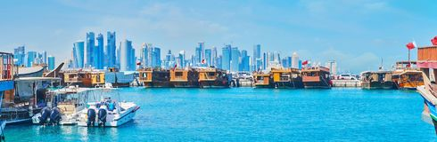Panorama with old boats and modern architecture, Doha, Qatar Stock Photos