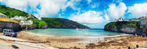 Panorama of harbor  Port Isaac Royalty Free Stock Photo