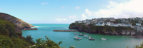 Panorama of harbor  Port Isaac Stock Image