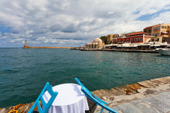 Panorama of harbour in Chania, Royalty Free Stock Image