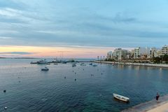 The panorama of harbour on St Pauls Bay, Mallta. The panorama of harbour on St Paul`s Bay with fishing boats and tourist ships, Bugibba, Malta royalty free stock photo