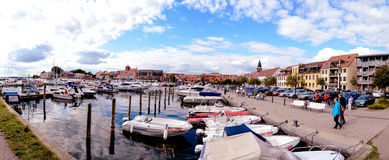 Panorama harbour Waren Müritz Germany. Panorama harbour Waren Müritz Germany boats Royalty Free Stock Photos