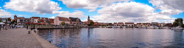 Panorama harbour Waren Müritz Germany. Panorama harbour Waren Müritz Germany old town Royalty Free Stock Images