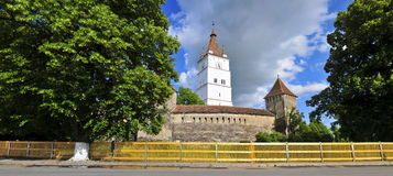 Panorama of harman fortified church Stock Photos
