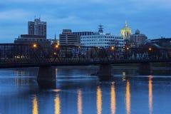 Panorama of Harrisburg at night Royalty Free Stock Images