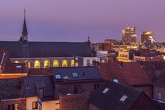Panorama of Hasselt at night Stock Photos